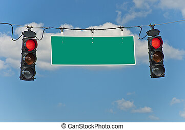 Red Stop Lights With Blank Sign