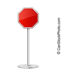 Red stop road sign