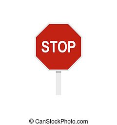 Red stop road sign icon, flat style