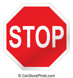stop road sign - Red stop road sign illustration with white ...