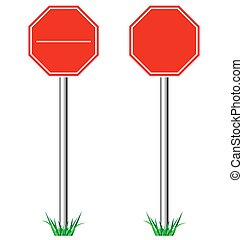 Red STOP road signs with grass isolated on white