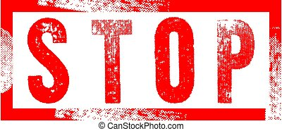 Red stop sign icon stamp isolated on white background
