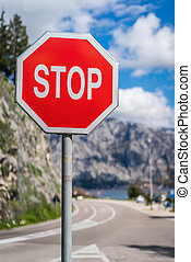 Red Stop sign in Montenegro