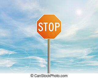 Red stop sign in the sky