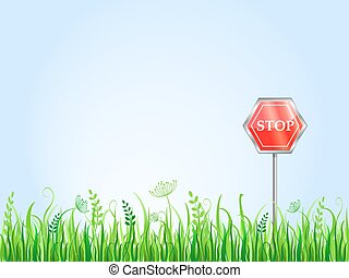 Red Stop Sign On Grass Meadow