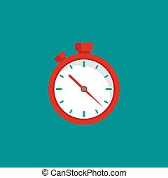 red stopwatch flat icon isolated on blue. Fast time stop watch, limited offer, deadline symbol.