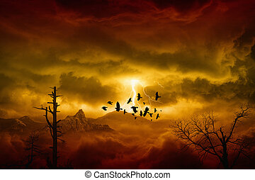Red storm in mountains - Apocalyptic dramatic background -...