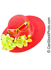 Red straw woman`s summer hat