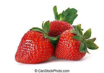 red strawberries - fresh strawberries on white background