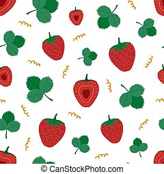 Red strawberries with leaves. Seamless pattern. Vector individual elements on white background.