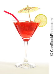 cocktail - red strawberry cocktail party drink isolated on...