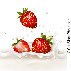 Red strawberry fruits falling into the milky splash. Vector...