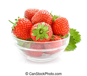 red strawberry fruits in the glass vase