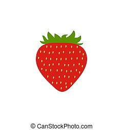 Red Strawberry icon, isolated background. Modern simple flat vegetarian sign. Natural food internet concept. Trendy Simple vector symbol for website design, web button, mobile app. Logo illustration.