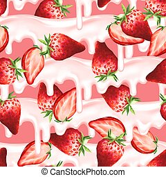 Red strawberry seamless pattern
