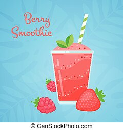 Red strawberry vegeterian smoothie protein shake