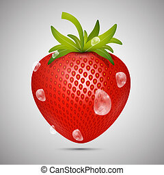 Red Strawberry with Water drops on Grey Background