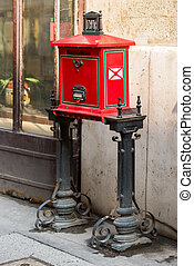 red street mail box in Europe, Budapest, Hungary