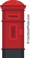 Red street post box icon, flat style