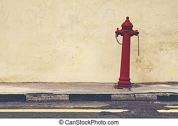 red street water valve or red fire hydrant ( emergency concept )