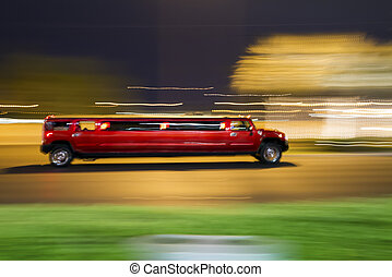 Red stretch limousine