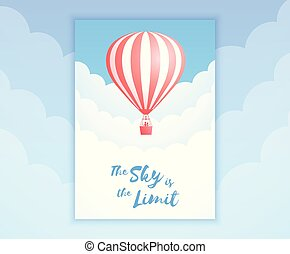 Red stripe ot air balloon sky flight promo banner