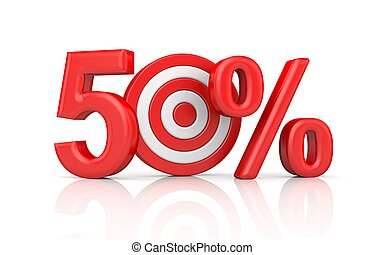 Red stripe targets with arrow form the red number 50 percent. Accurate shot metaphors. 3d illustration