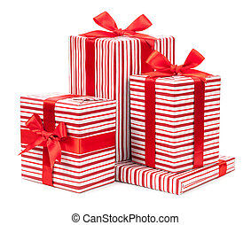 red striped boxes with bows isolated on white background