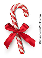 Red striped candy cane with red bow isolated on white background. Vector Christmas and New Year design element.