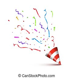 Red striped cane with exploding serpentine isolated on white background. Vector holiday design element.