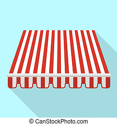 Red striped canopy icon, flat style