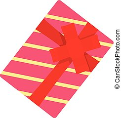 Red striped gift box icon, flat style