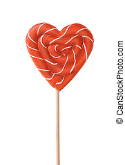 Red striped heart lollipop
