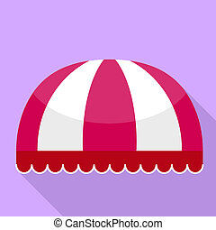 Red striped round awning icon, flat style