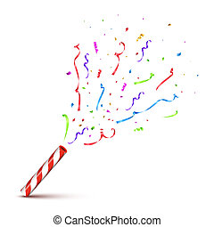 Red striped tube with exploding serpentine isolated on white background. Vector holiday design element.