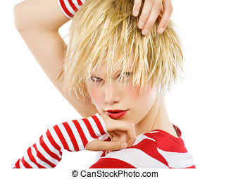 Model with red stripes.