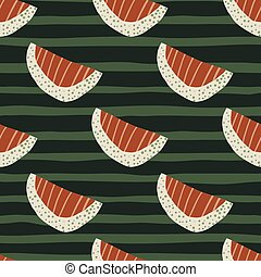 Red stripped and white slices abstract seamless fruit pattern. Green dark background with strips.