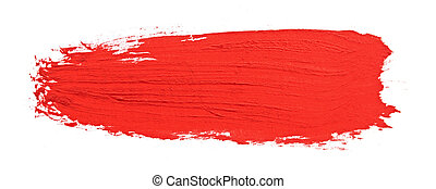 red stroke of the paint brush isolated on white