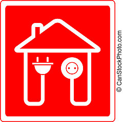 symbol with AC outlet and plug - red style electrical symbol...
