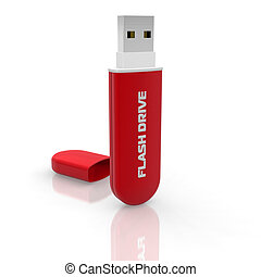 Red stylish USB flash drive