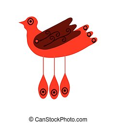 Red stylized bird
