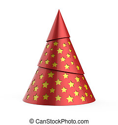 Red stylized Christmas tree with yellow stars