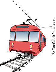 Red subway or metro train - Vector illustration of red...