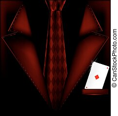 red suit and ace of diamonds - the image of a mans suit with...
