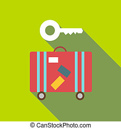 Red suitcase and key icon, flat style