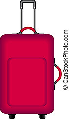 Red suitcase for traveling isolated on white background