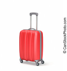 Red suitcase isolated on white. Clipping path included