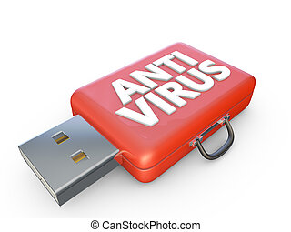 anti virus - red suitcase labeled anti virus and usb...