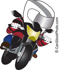 Red suite biker