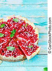 red summer tart with custard, food closeup